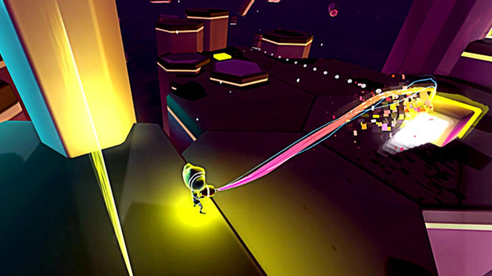 The player's weapon emanates a multicolored ray at a block of glowing material