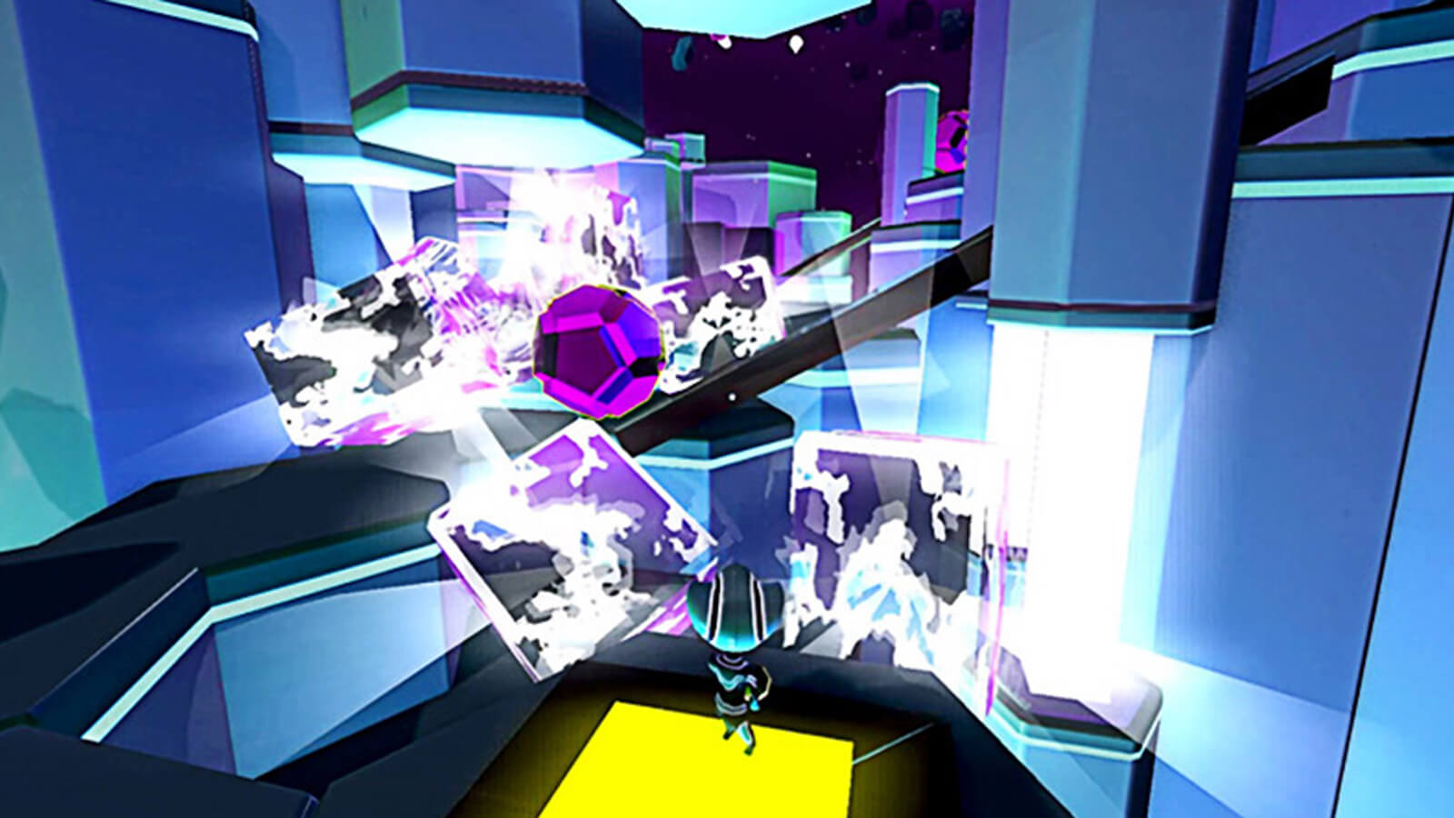 The player's character looks on as a magenta ball rolls down a ramp in front of it