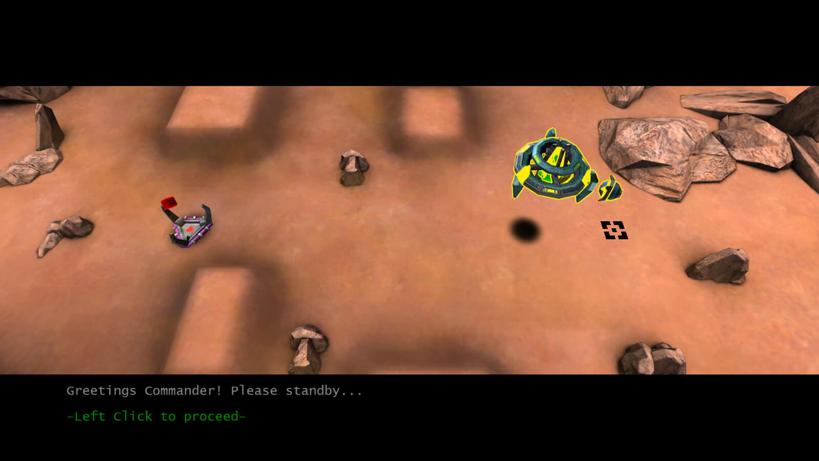 The player's green and yellow ship hovers above rocky terrain