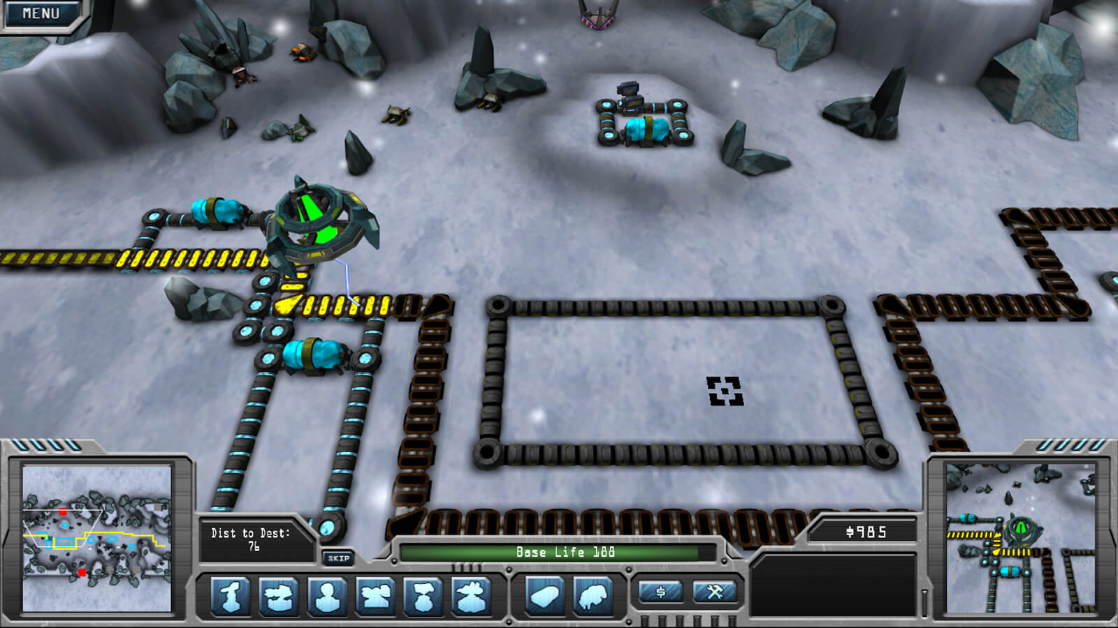 Full view of game and HUD including mini map and building options. The player's ship hovers over the defenses.