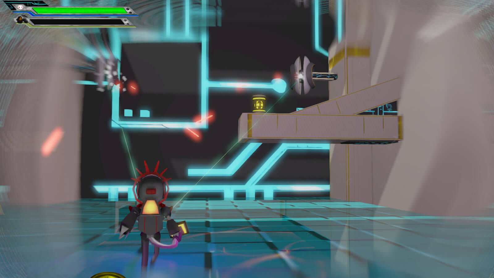 The player's character aims at an enemy up and to the right as lasers fly through the air