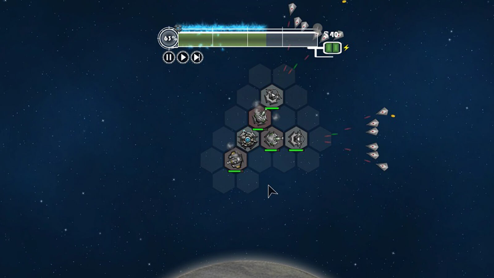 Six enemy ships converge and attack the defenses from the right-side of the screen