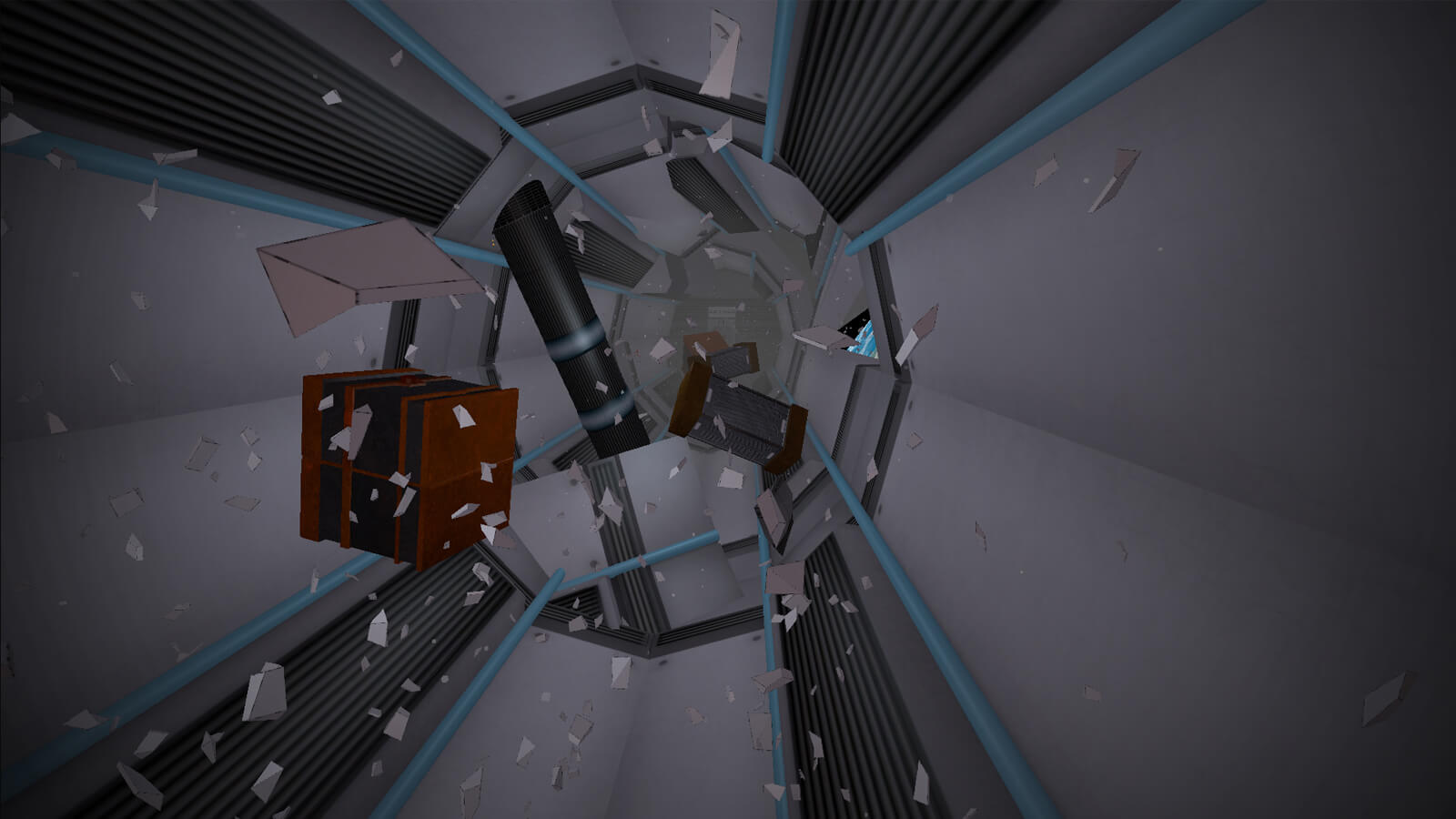 Debris and blocks float everywhere in a corridor without any gravity