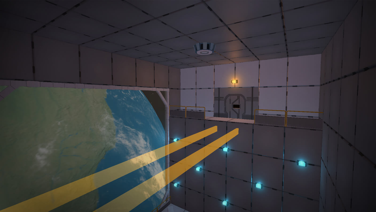 A room with a large window showing the planet below. Two yellow rays reach an elevated platform and door.