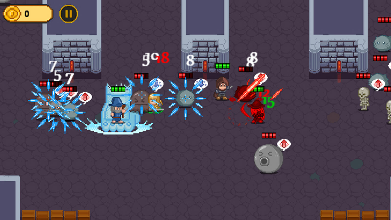 Three characters fight a group of gray sphere enemies. Damage indicators and HP bars can be seen throughout.