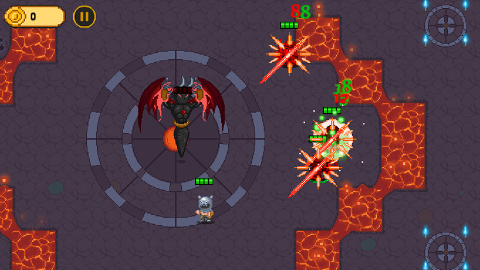 The player's character fights a black, winged demonic enemy in a dark, lava-filled dungeon