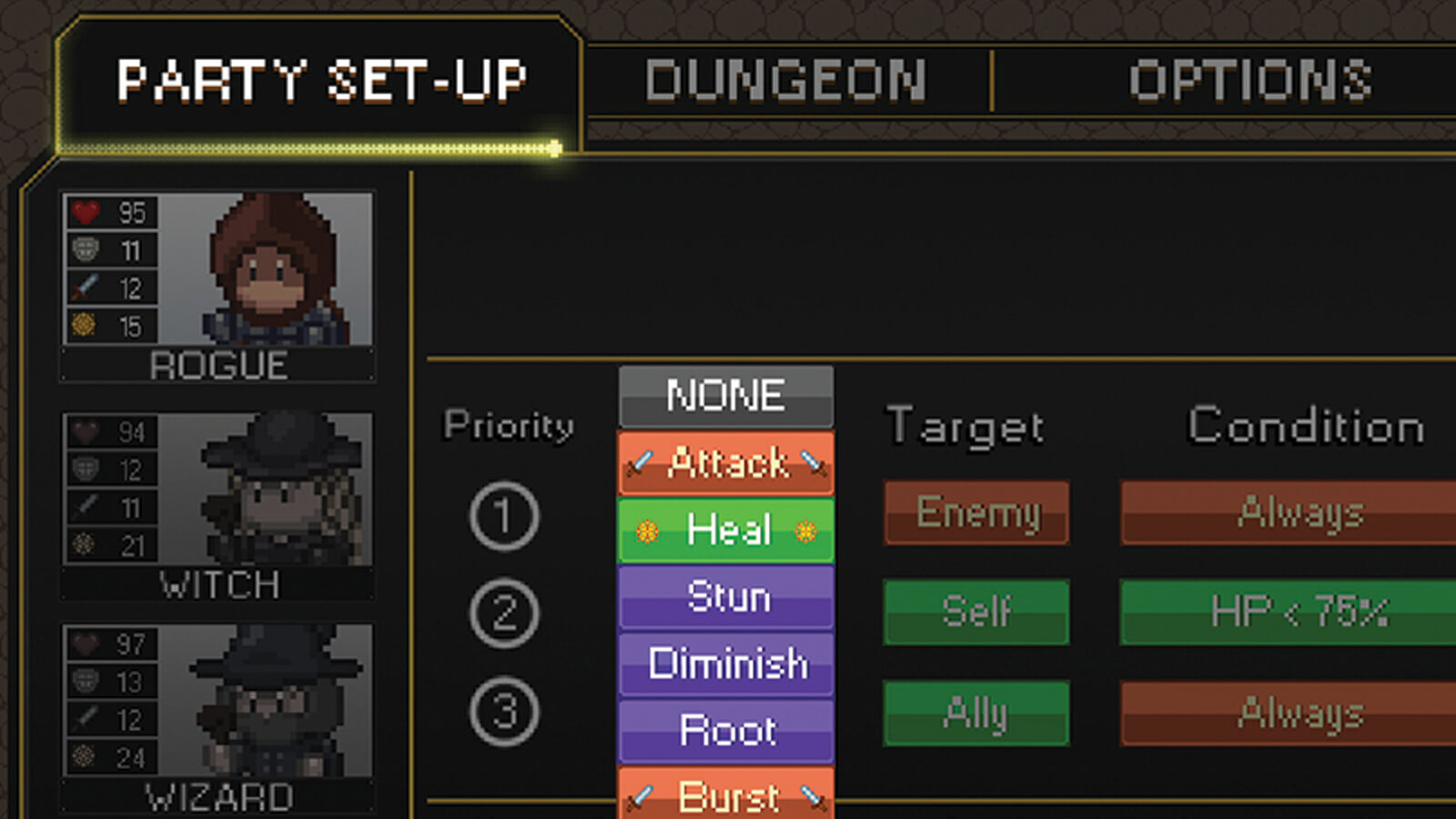 The party set-up screen indicating what actions the character will prioritize while in battle