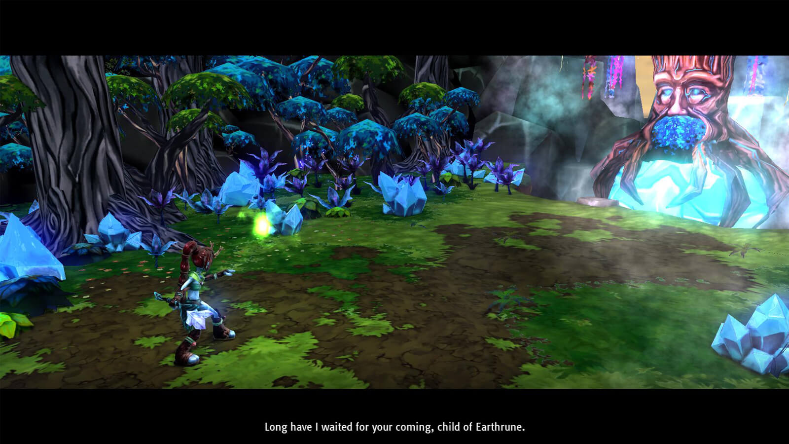 The player's character stands in a wooded clearing before a tree with a face carved into it
