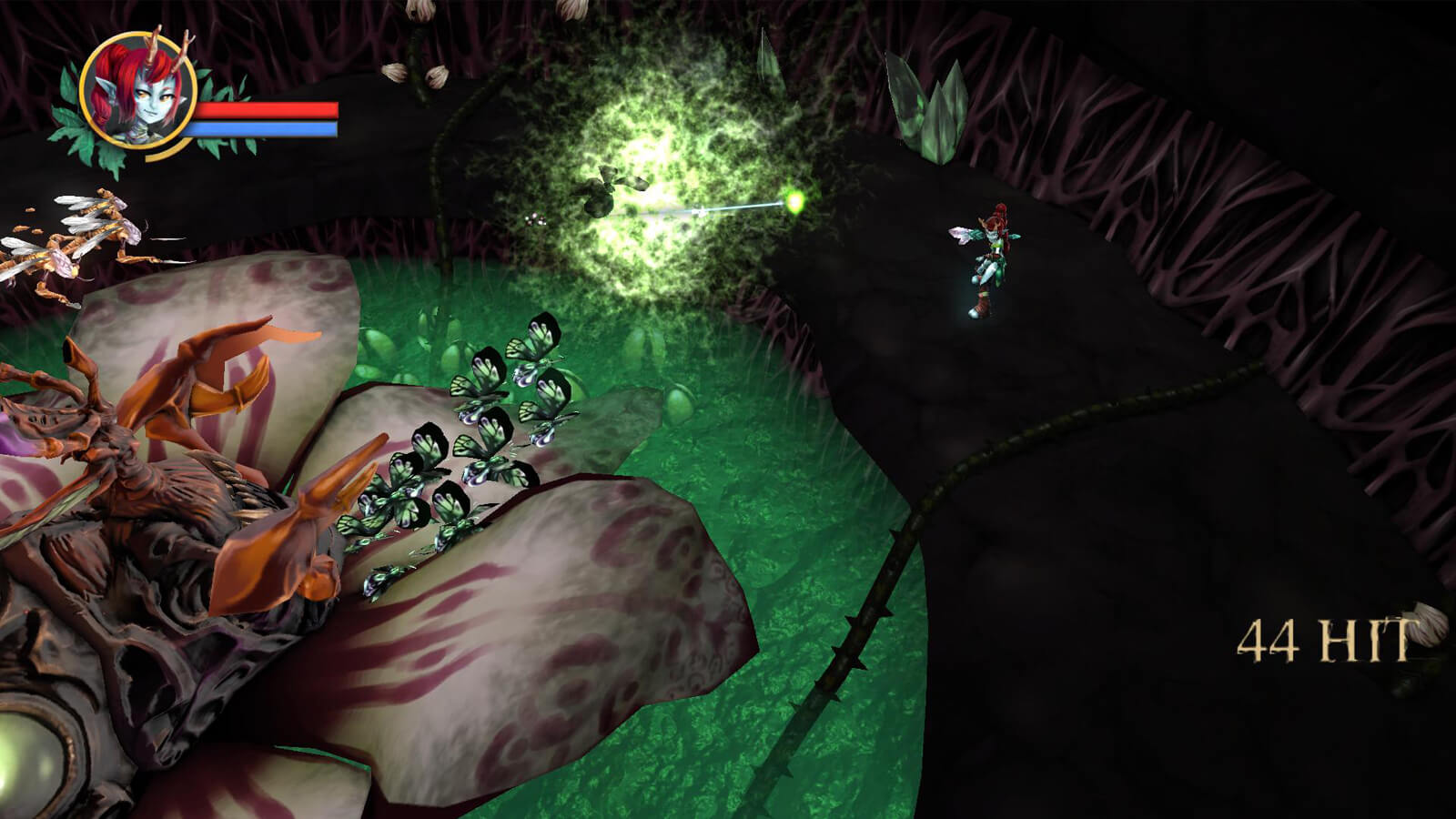 The player's character completes a 44-hit combo as butterflies and other enemies come toward her