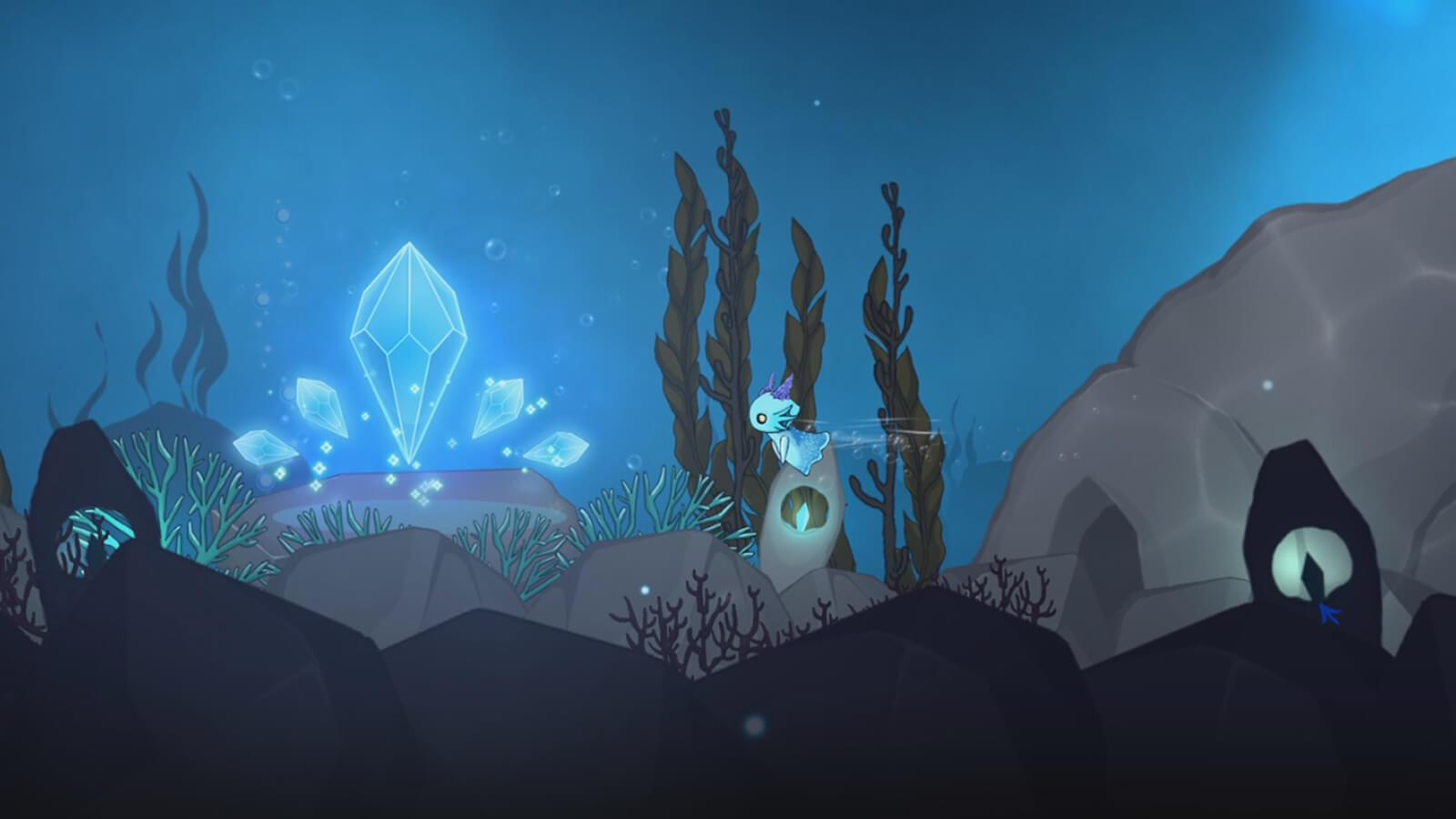A neon-blue sea creature with purple horns swims toward floating blue gems near the entrance of an underwater cavern.