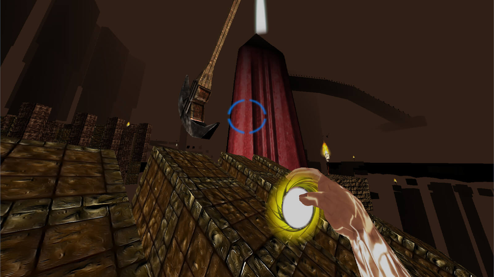 First-person view of the player on a sloped, stone terrain holding a yellow ball of light. A giant pendulum is seen ahead.