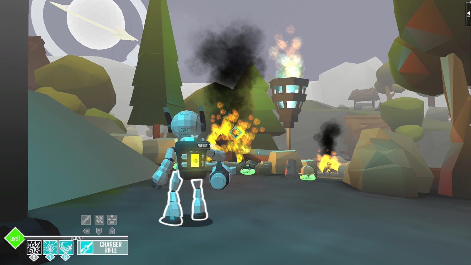 A robot seen from behind confronting short green blobs of slime in a forested area with smoke and flames appearing ahead.