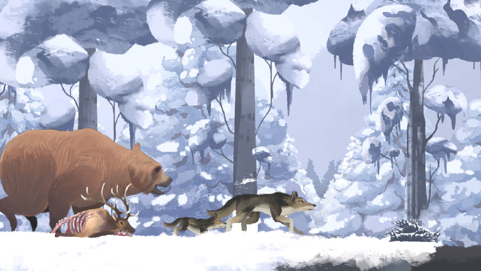 A wolf and pup run in front of a grizzly bear set against a winter landscape