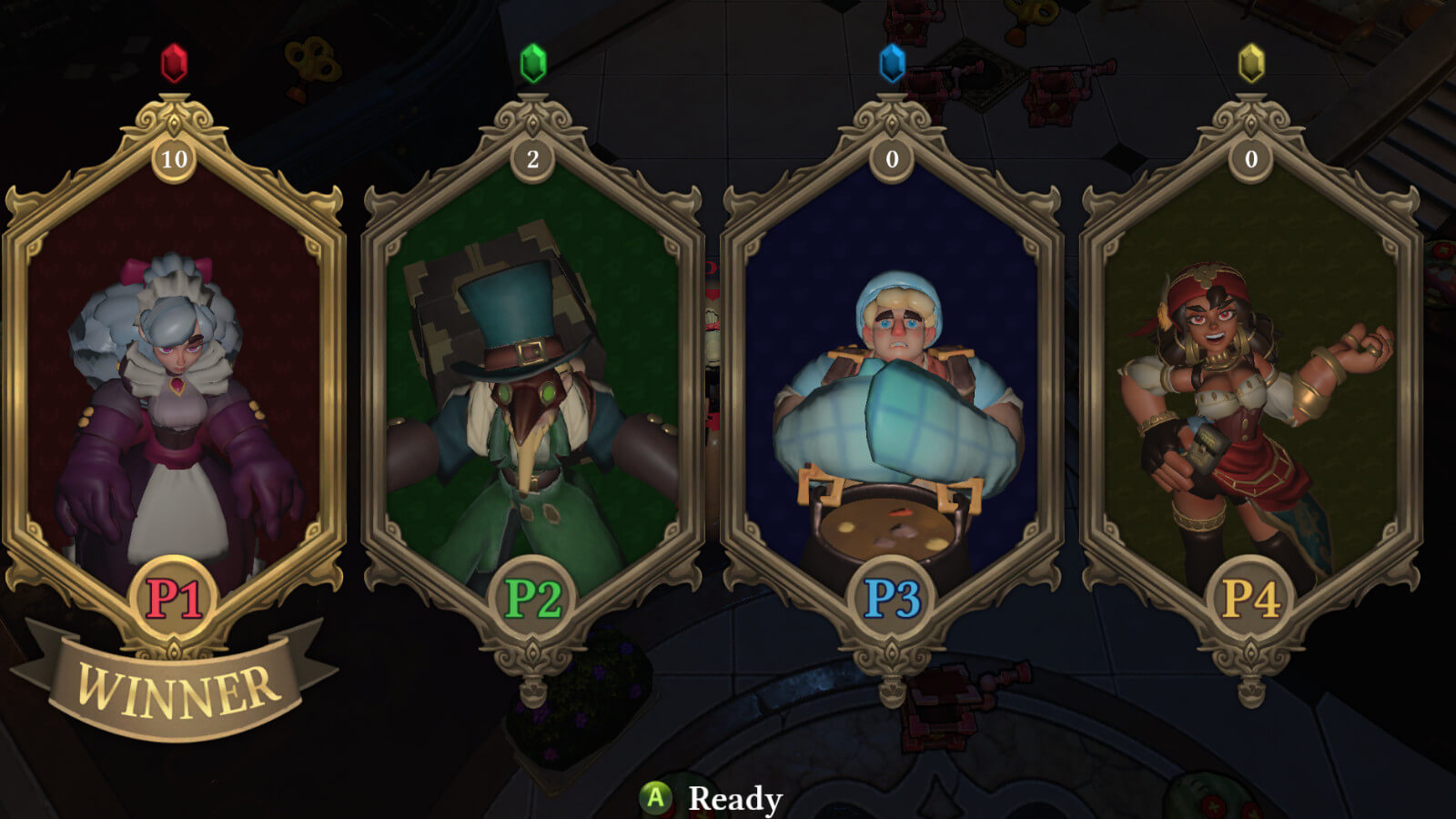 Character select screen featuring two female and two male characters in golden frames