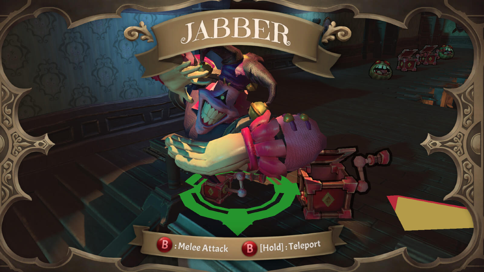 Character screen showing the jester named Jabber coming out of a music box
