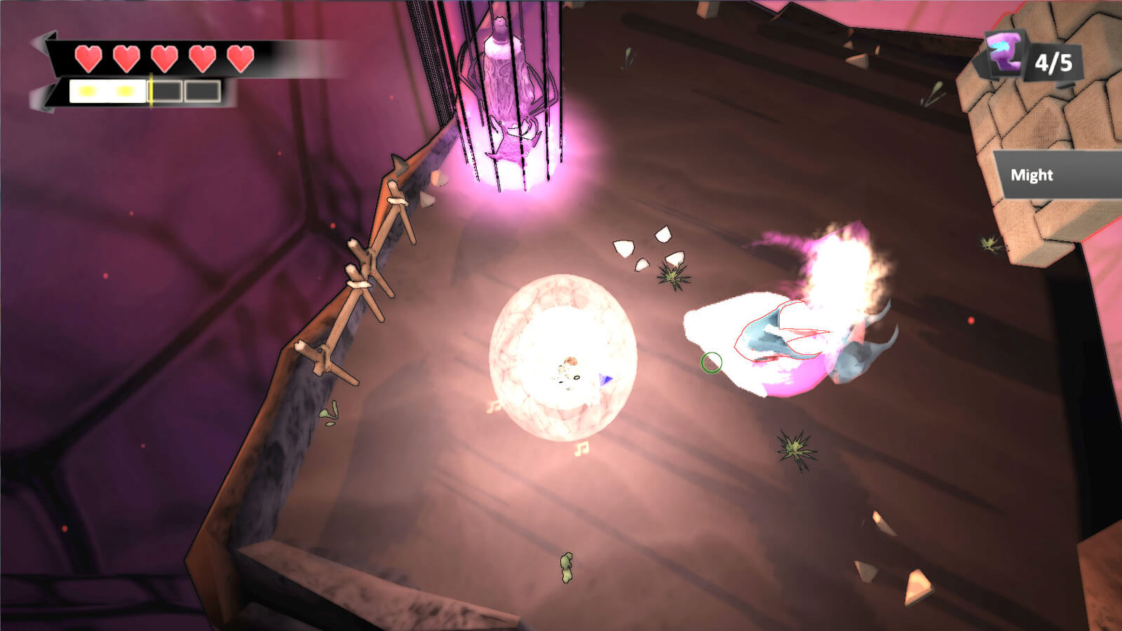 A glowing white sphere appears in the center of a floating platform. Two abstract glowing creatures stand nearby.