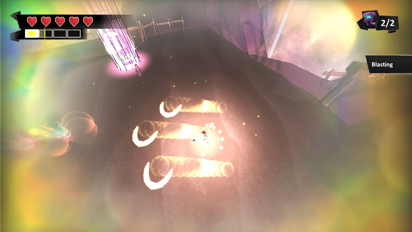 Three, bright crescent rays streak near the player's character