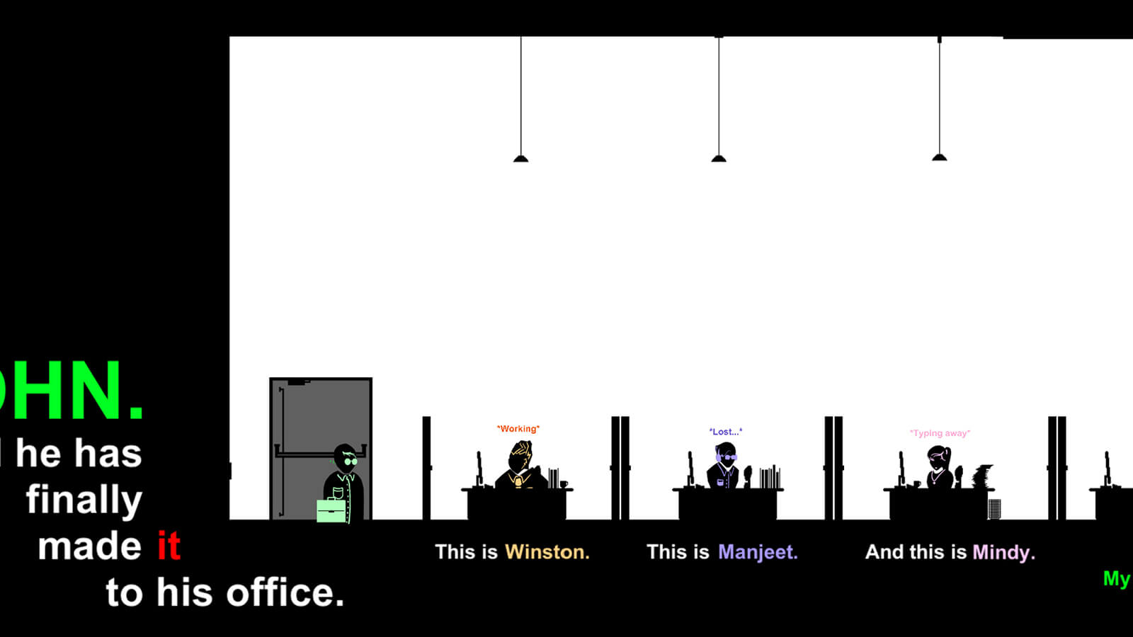 A flat, 2D character in silhouette holding a briefcase stands in an office with other silhouettes sitting at their desk.