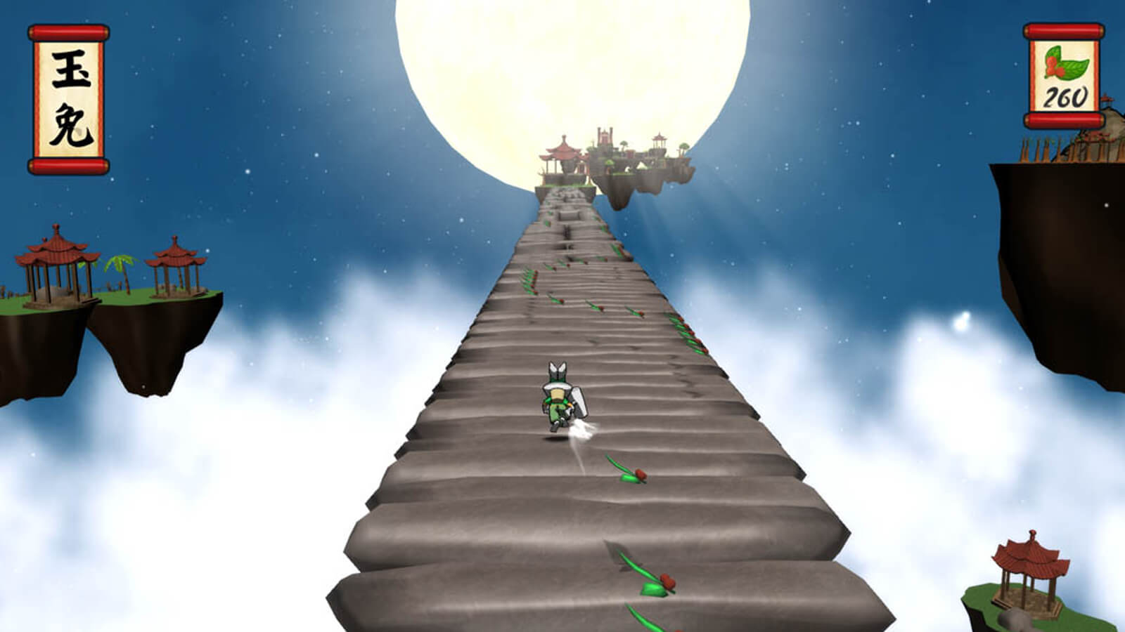 The moon rabbit runs up a path toward the moon and several pagodas in the distance