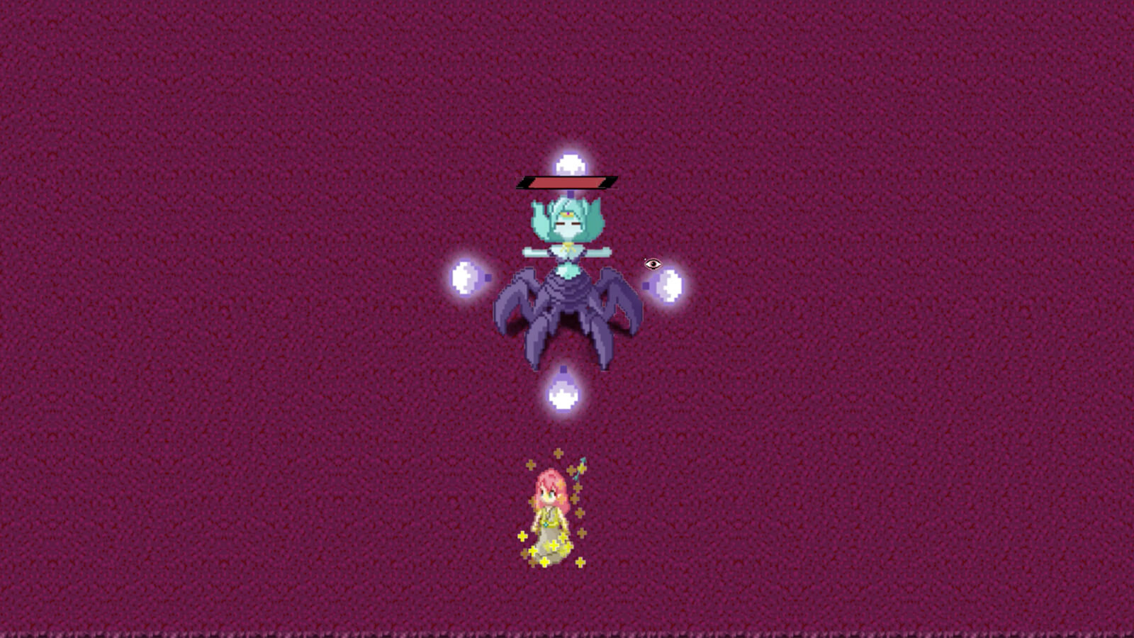 A turquoise-colored boss with six purple legs stands next to a smaller character with red hair