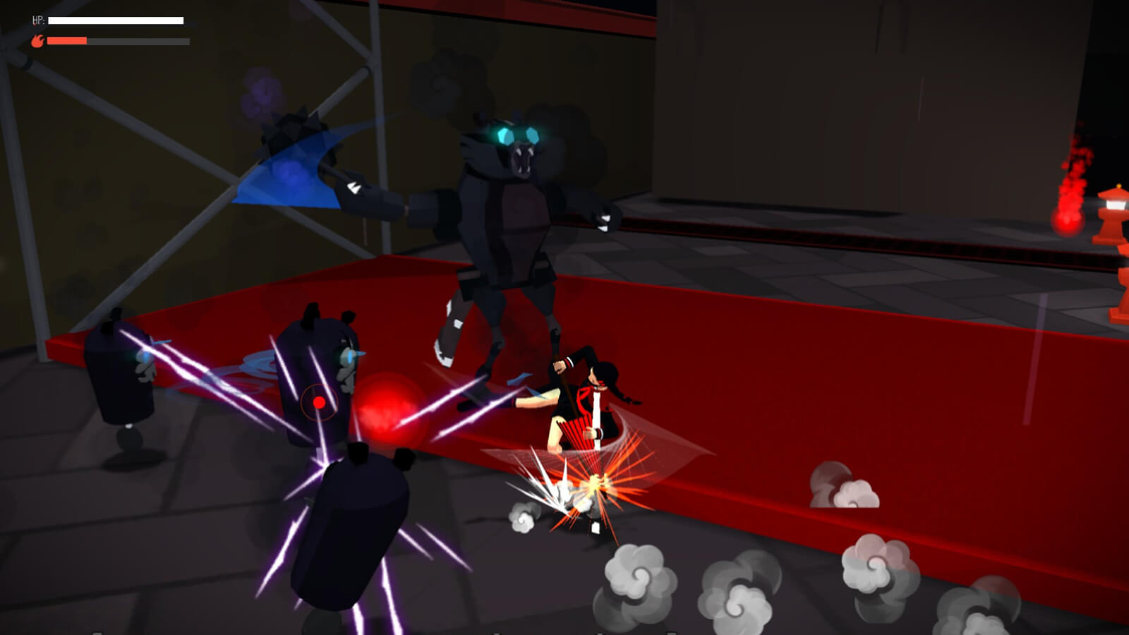 A girl in a red-and-black uniform kicks at blue-eyed robotic beasts of varying sizes in a dark hallway.