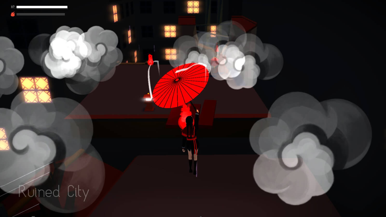 A girl in a red-and-black uniform held aloft by an open red umbrella, drifts in the air to a smoky apartment rooftop.