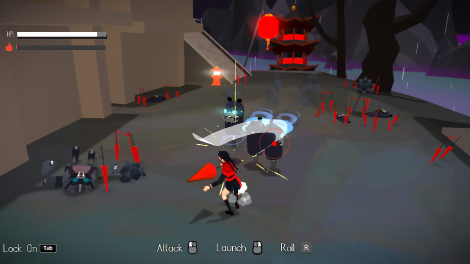 A girl in a red-and-black uniform swats at robotic beasts with her red umbrella on a dark, rainy battlefield.