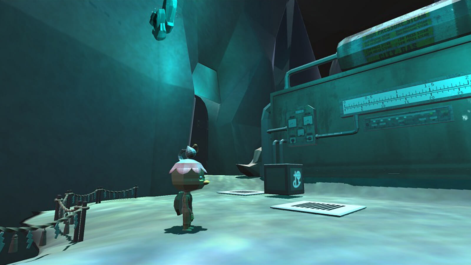 The kappa character stands in a dimly lit chamber with a large machine sitting nearby