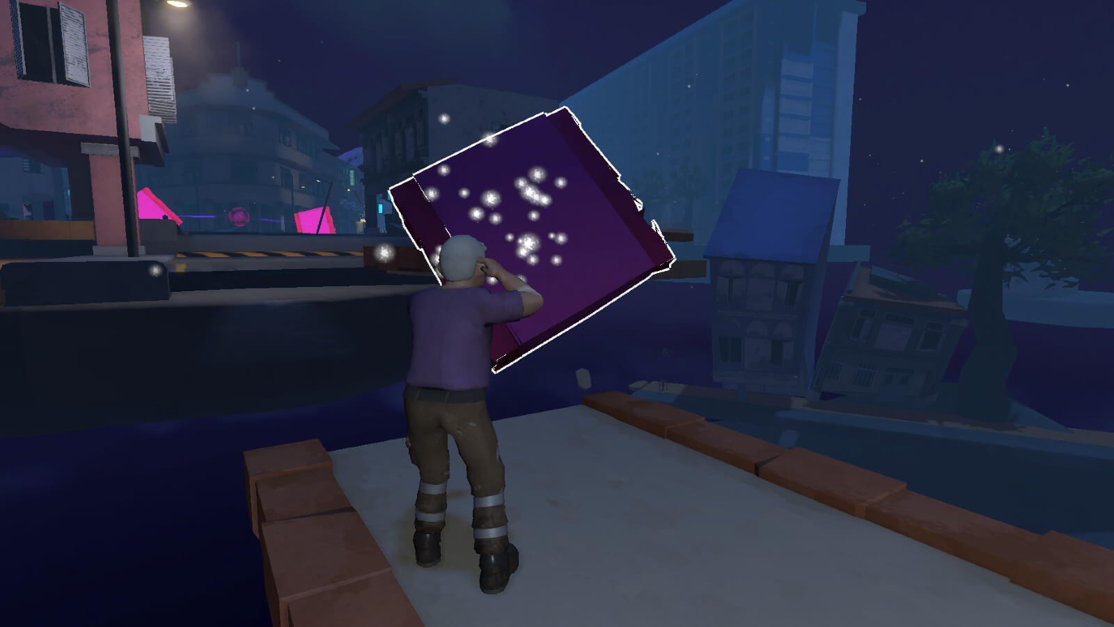 An old man with grey hair accessing a sparkling portal in a city