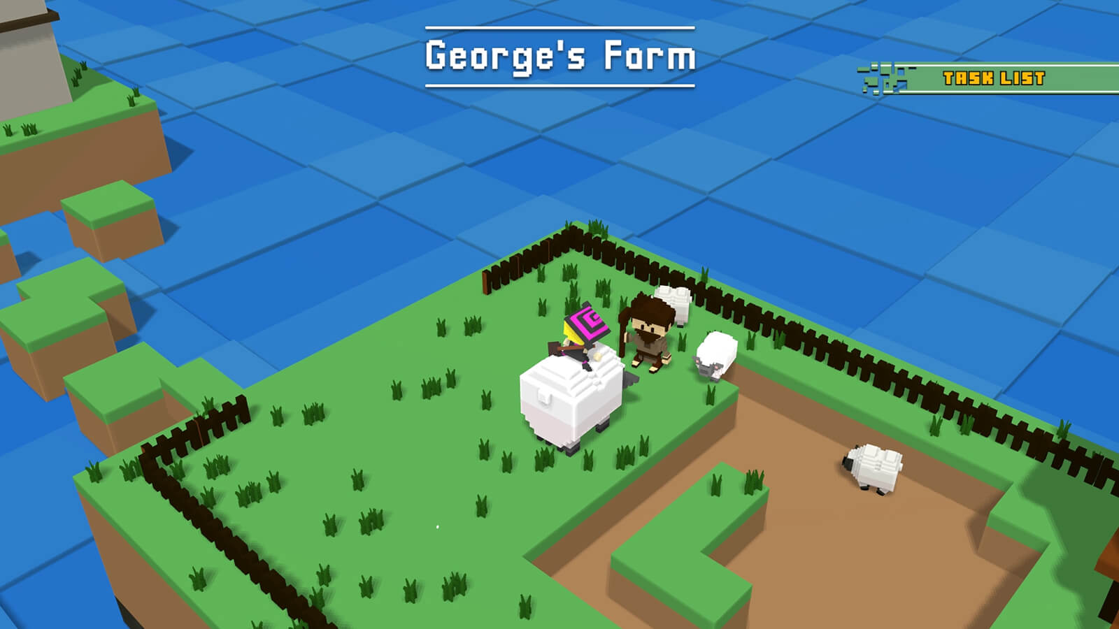 """A witch character rides on top of a sheep on an island marked as """"George's Farm"""""""