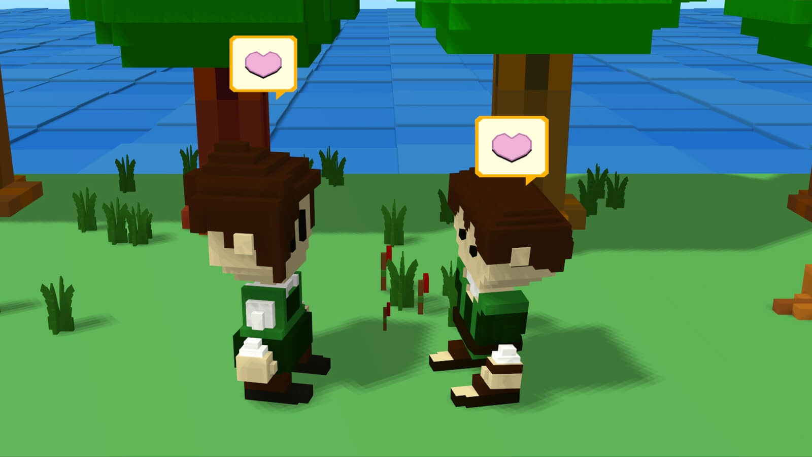 Two blocky villagers speak to each other with heart icons for speech bubbles.