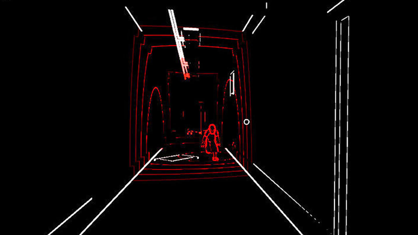 Seen in only black, red, and white relief, a crouching figure stalks the player