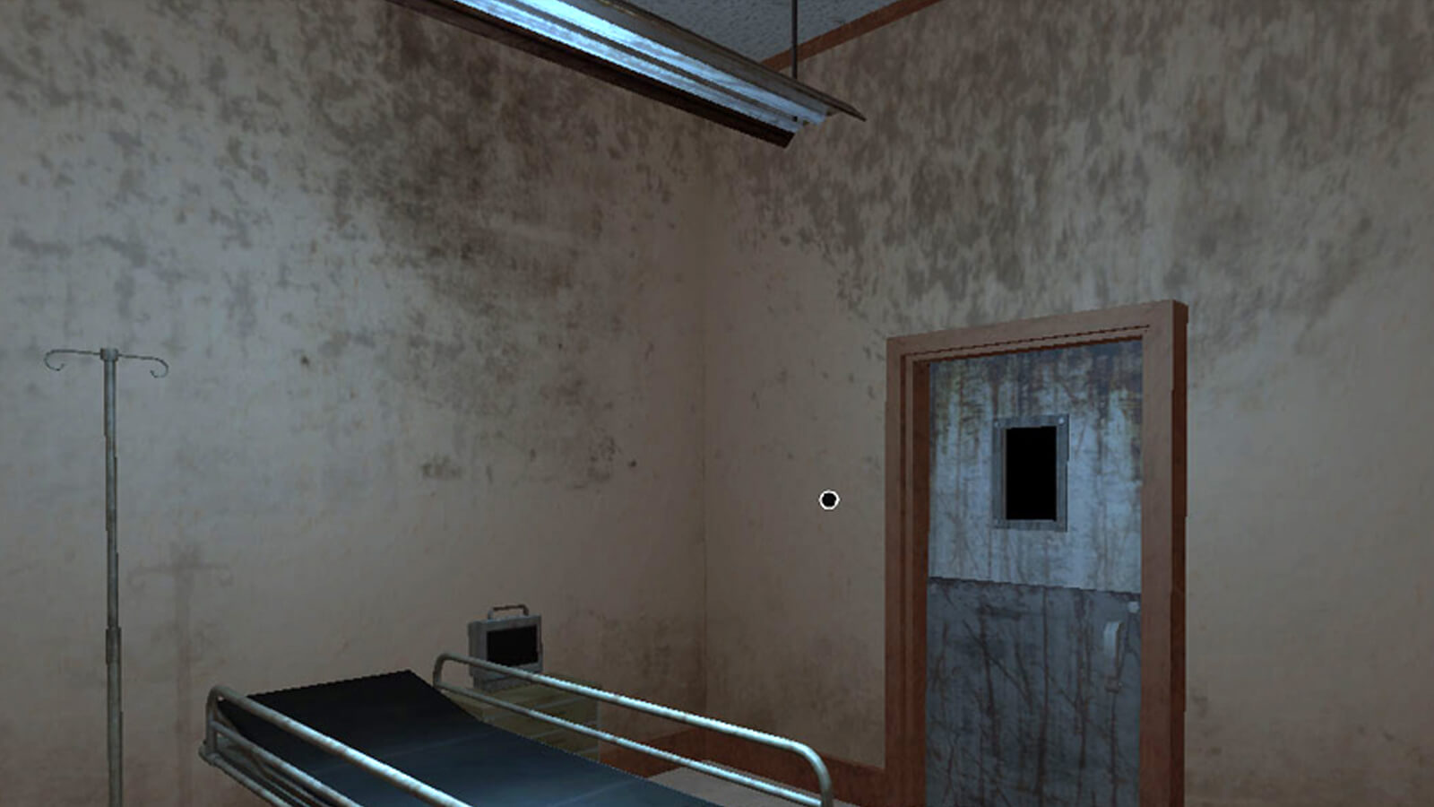 A dirty, bare hospital room with a gurney and naked lighting fixture above