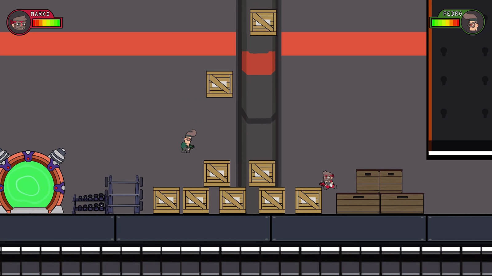 Two, 2D characters in red and green garb respectively jump around a gym environment while tossing wooden crates.