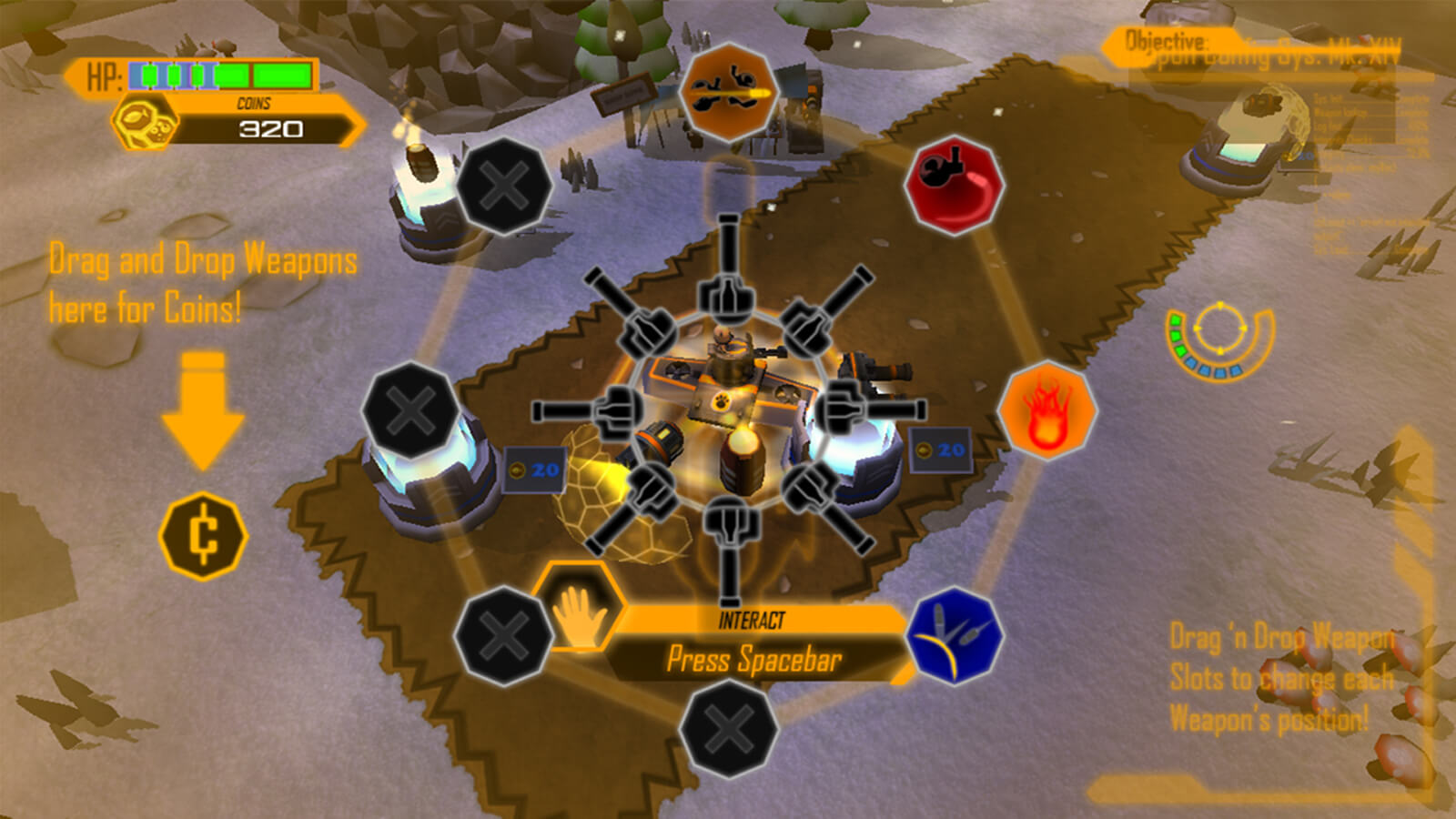 The player's tank surrounded by 360 degrees of weapons, showing slots for eight different types of guns and turrets
