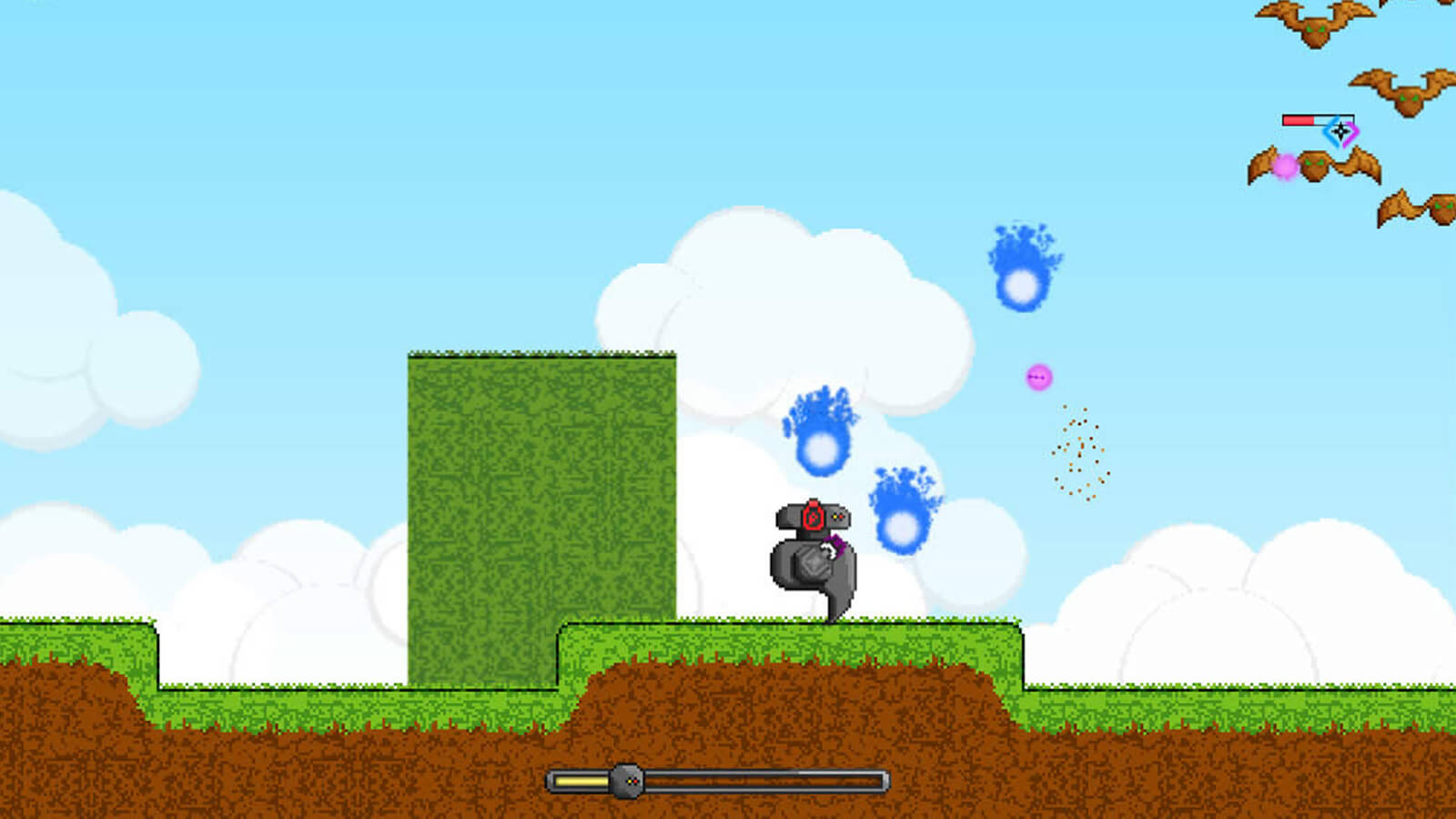 The player's robot character fires magenta bullets as enemy bats shoot back blue balls of fire