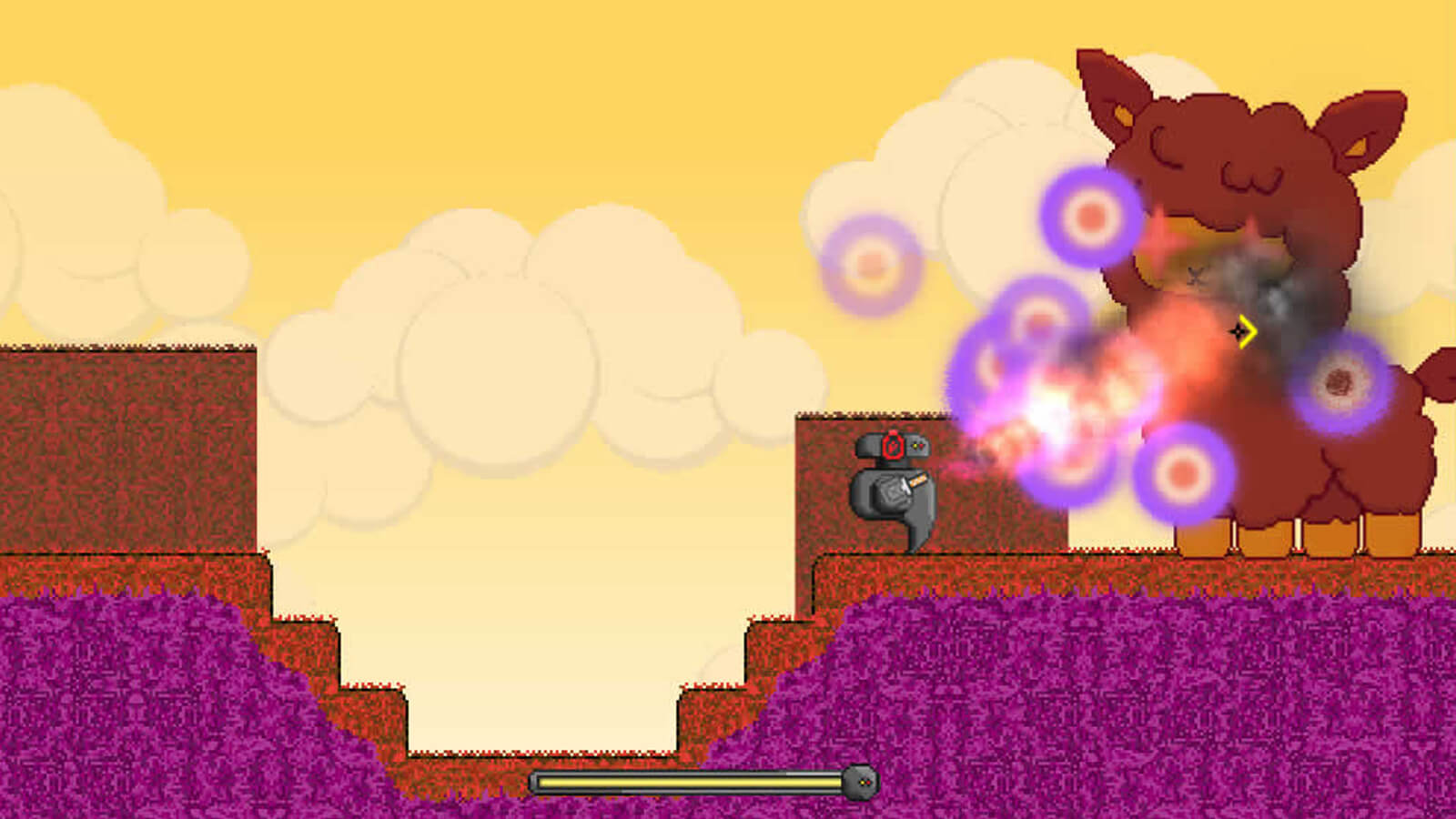 The player's robotic character shoots a flamethrower at a giant brown lamb blocking its path