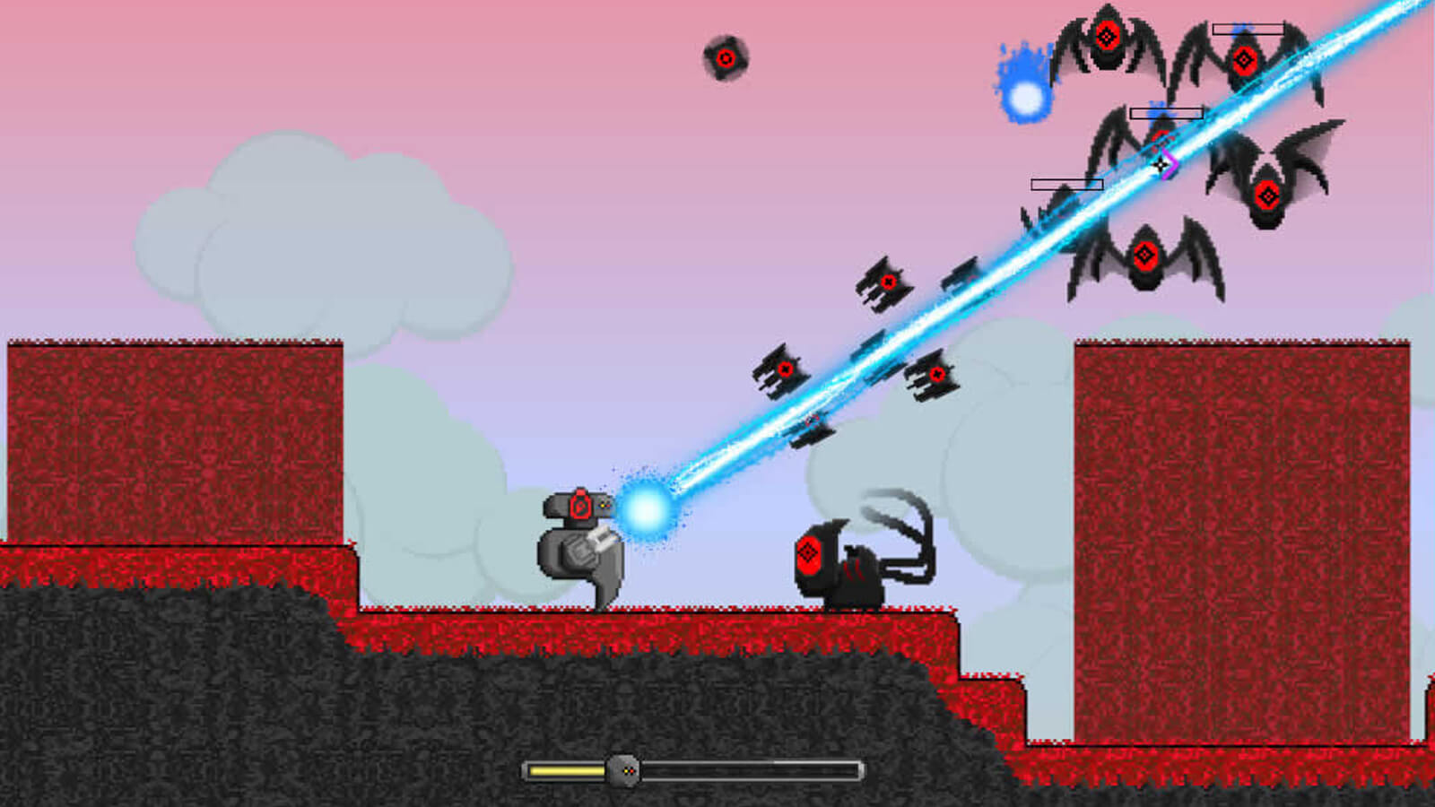 The player's robot character fires a blue laser beam at a group of single-eyed black bat enemies