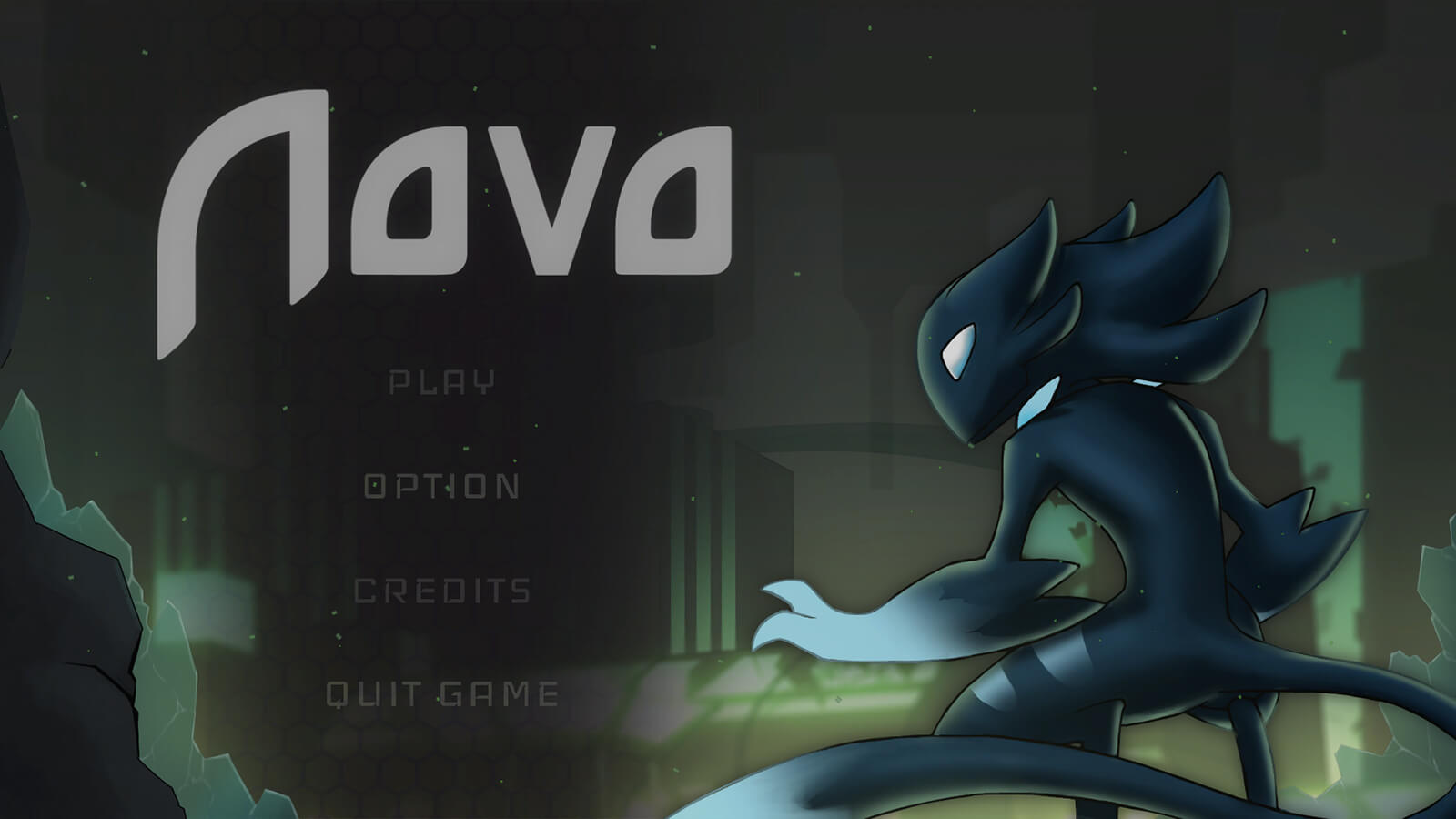 Title screen for the game Novo depicting a sleek, black alien crouching in the foreground of a futuristic city.