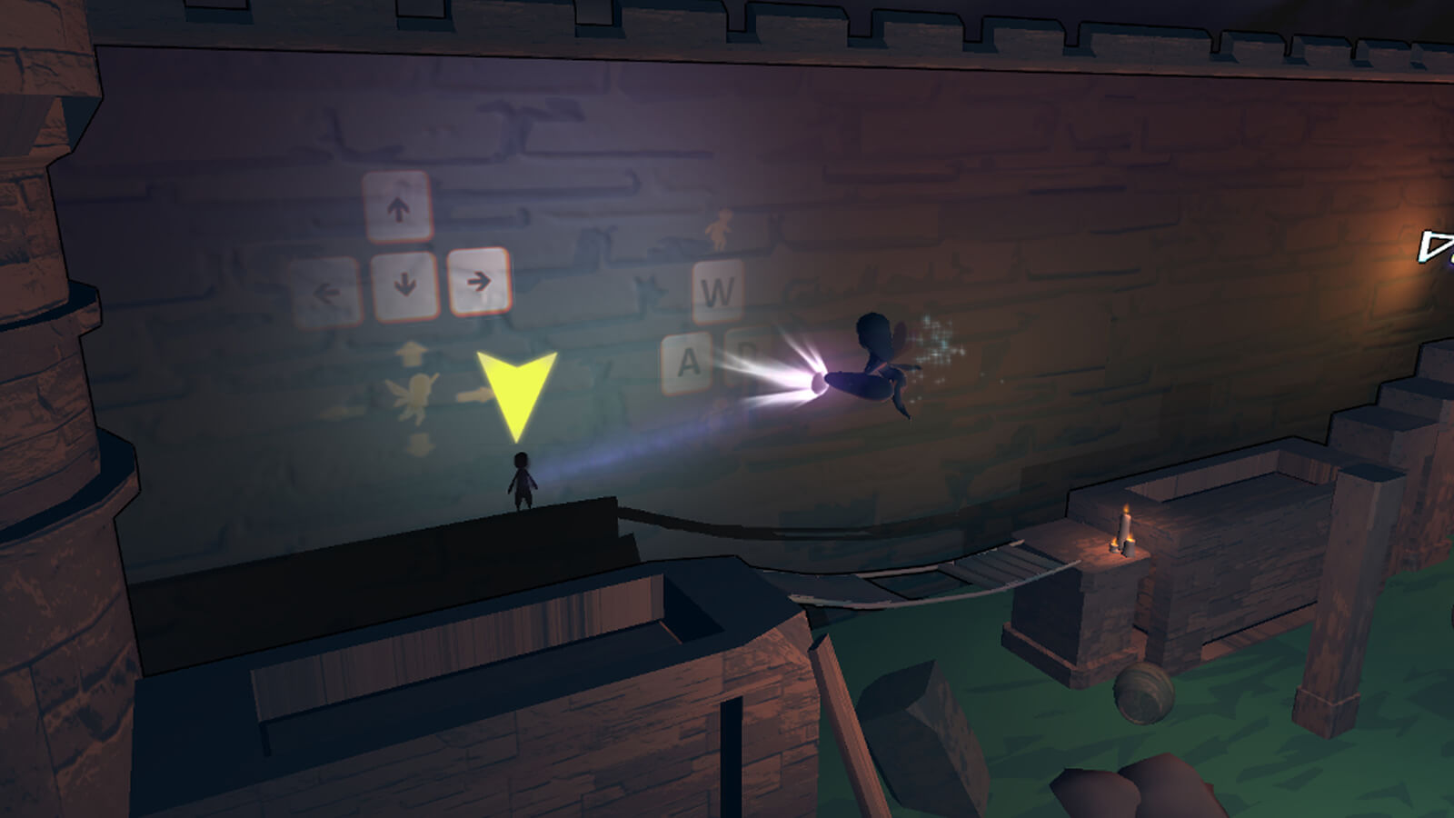 The player's fairy character is in the foreground shining a light illuminating the game's controls on the wall behind