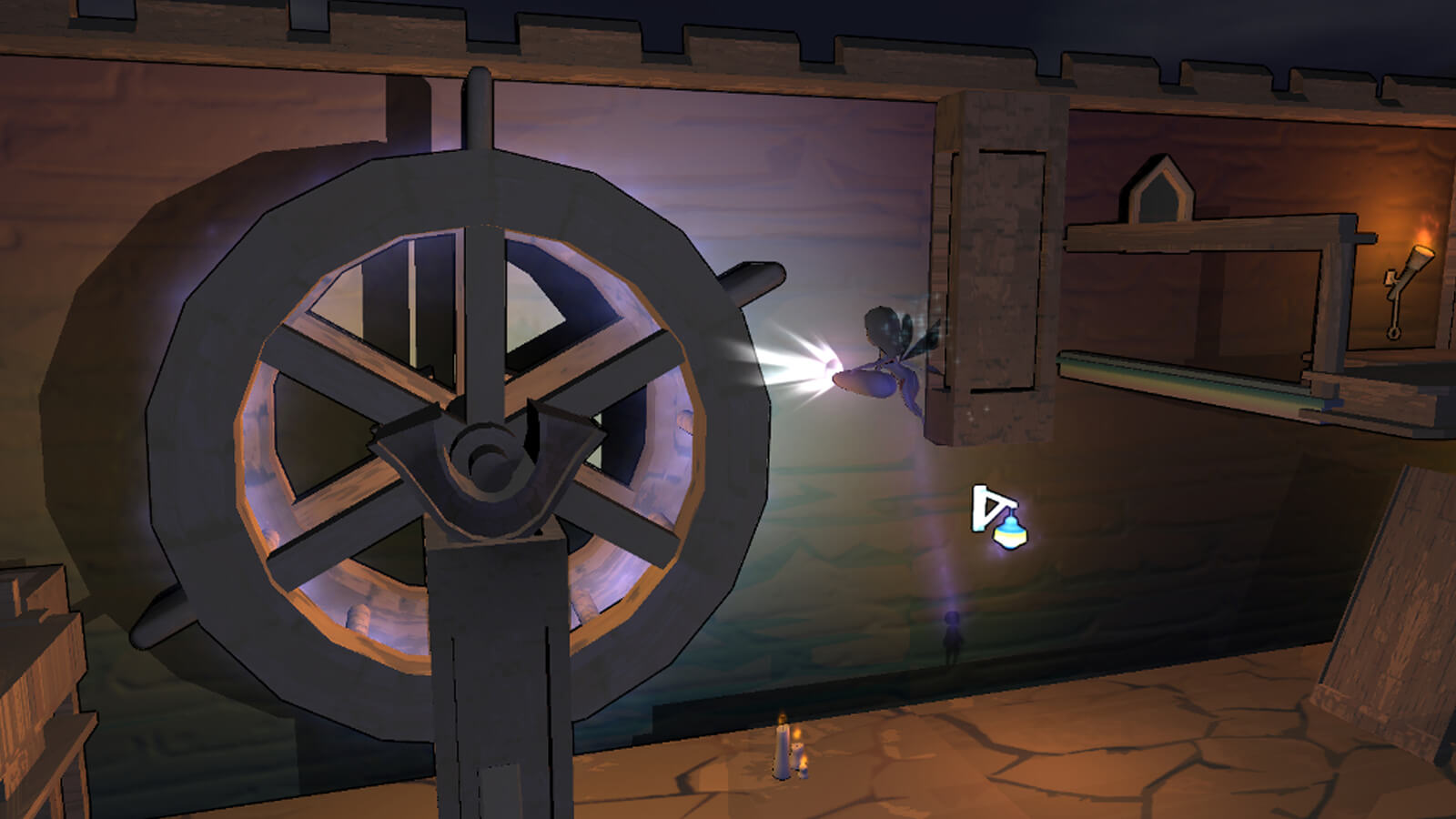The player's fairy character illuminates a wooden waterwheel