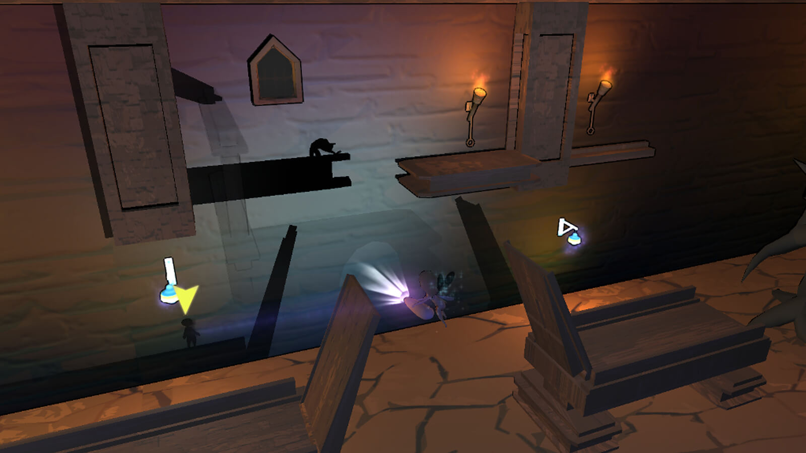 The player's fairy character illuminates a drawbridge and shelf creating shadows against the wall behind