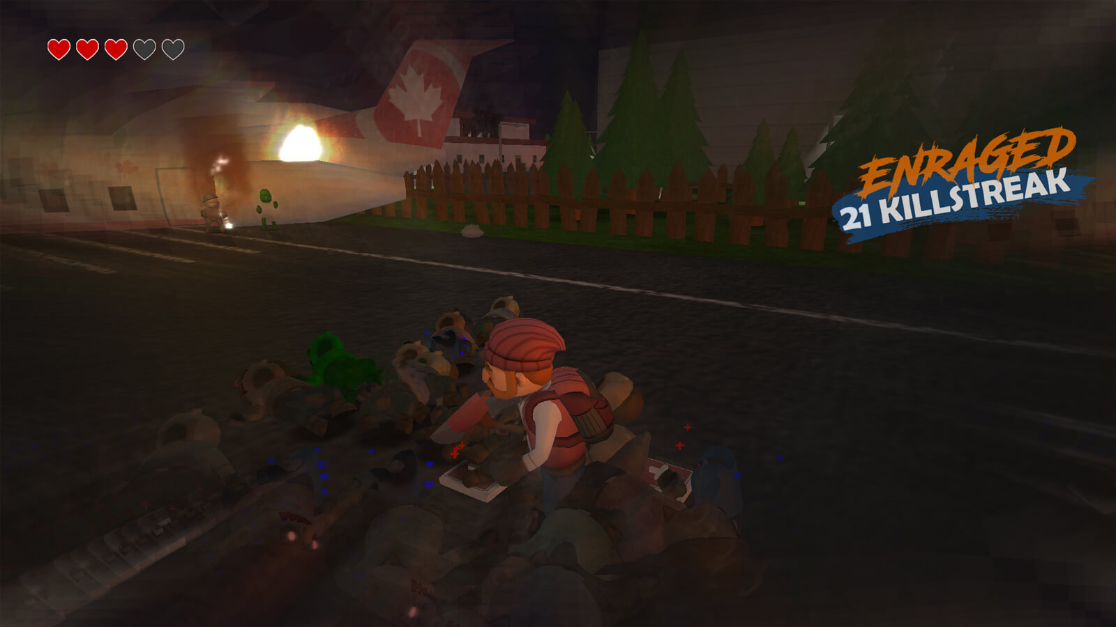 The player's character is holding an ax surrounded by bodies of fallen zombies