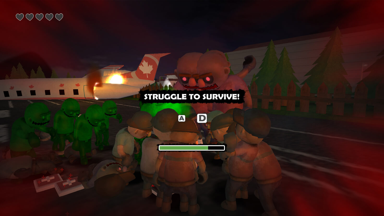 "Various monsters gather around the player as ""struggle to survive"" is displayed on the screen"