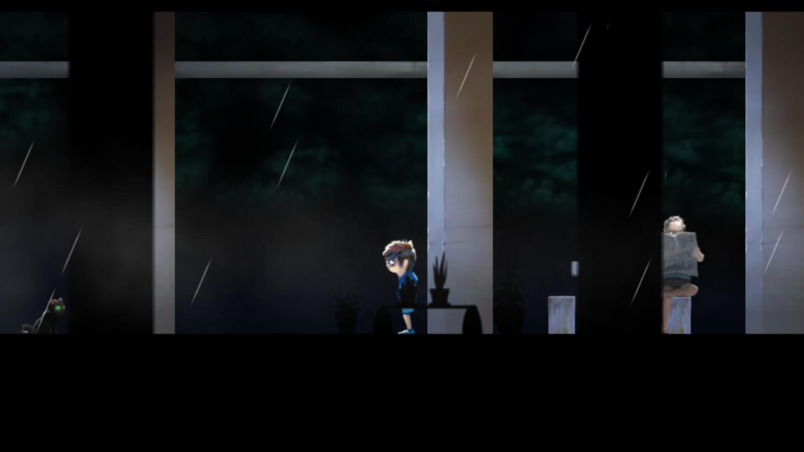The player's character stands in a darkened room. A black cat and a man reading a newspaper are nearby.
