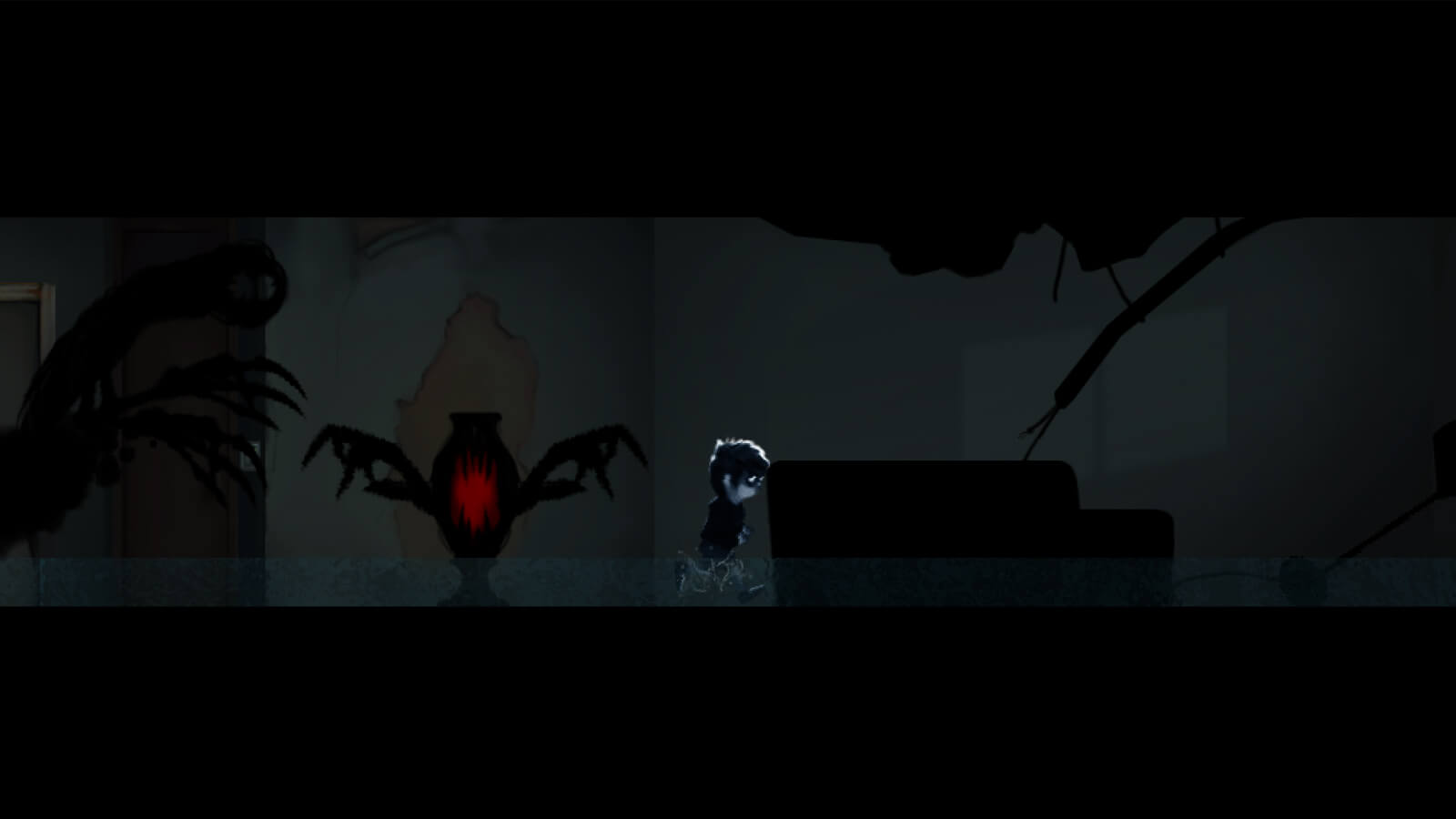 The player's character runs through a dark hallway pursued by shadowy enemies