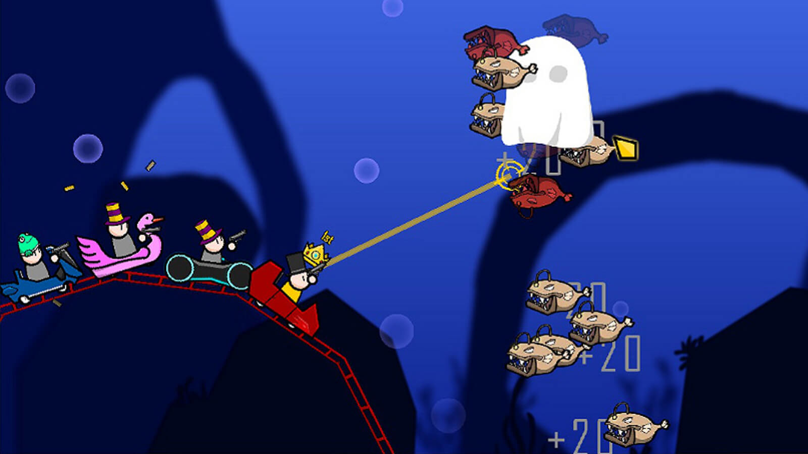 The roller coaster goes through an underwater level as the players aim at incoming fish enemies