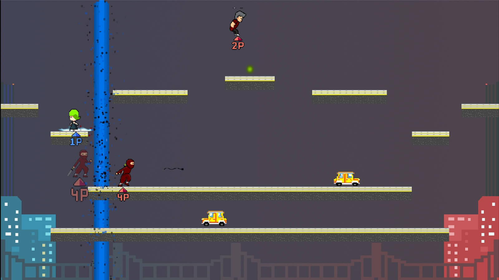 Four players jump around urban-style platforms on a level with a cityscape background