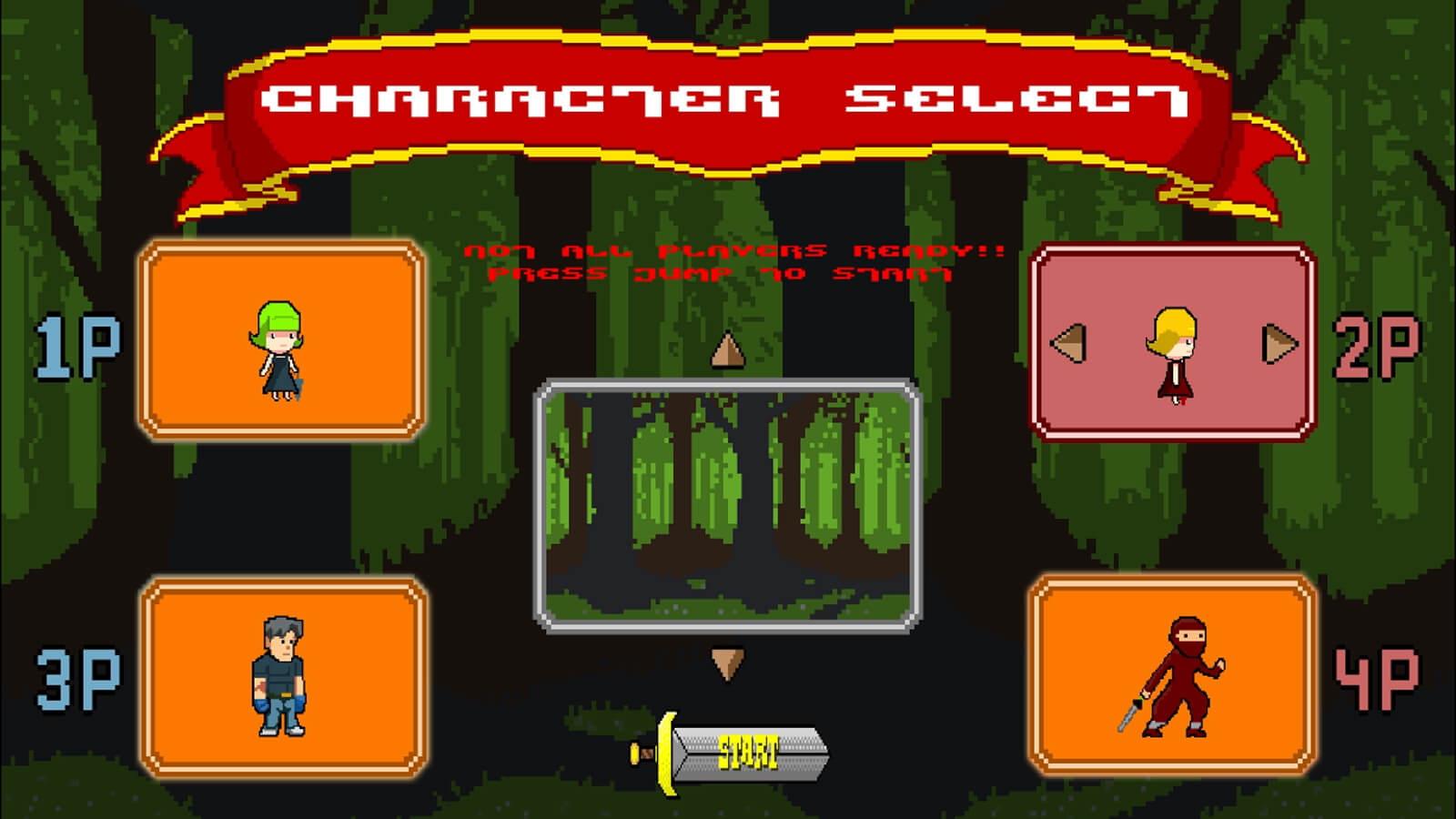The player- and level-selection screen, currently highlighting the jungle map