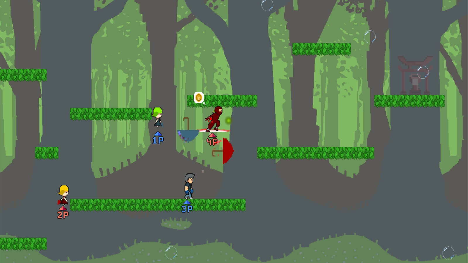 Four players stand or jump around leafy platforms on a map with a jungle background